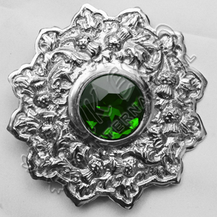 Emerald Stone Thistle Trim Brooch