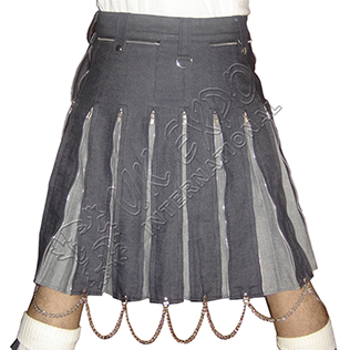 First Hybrid Dashing Kilts with Zipper Closing Pleats