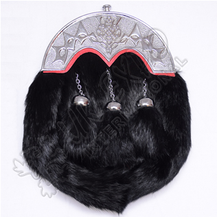Full Dress Black Rabbit fur sporrans with Scottish Cantle