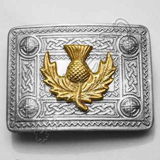 Full Polish Celtic Buckle with new model of Gold thistle Badge