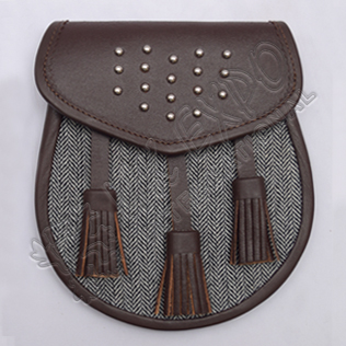 Gladiator Semi Dress Sporran Brass Studs on Flap Brown leather with gray Fabric