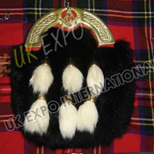 Gold Cantle Black rabbit furr with Six Tessels red backing on Gold Masonic Badge