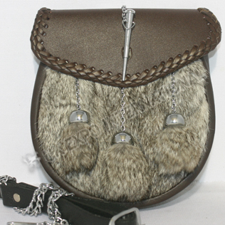 Gray Furr Sporrans with  Brown or black leather chrome lock