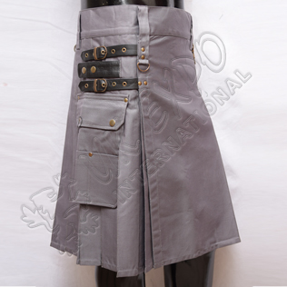 Gray Heavy Duty Utility Kilts with 4 Straps closing