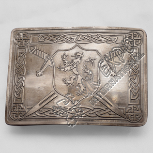 Gray Shiny Antique Rampart lion Shield Buckle with Celtic Knot work