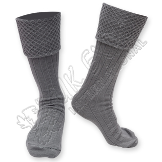 Mens New Gray Scottish Highland Wear Kilt Hose Socks