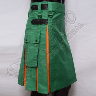 Green and Orange Hybrid Two-Tone Utility Kilt