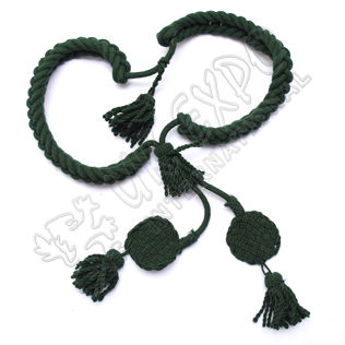 Green color Grenadier Cord in Available in Wool Cotton and Silk