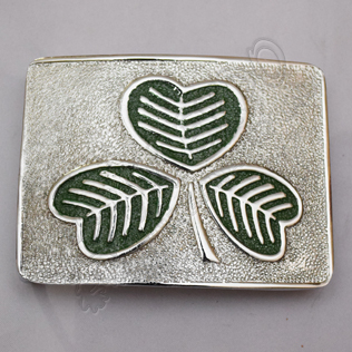Green Irish Shamrock Die struck Scottish kilt Buckle