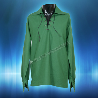 Green Mens Scottish Highland Jacobite Shirts Jacobean Ghillie