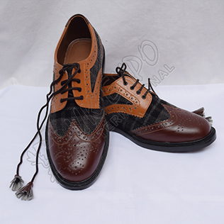 Hybrid Black and Gray Tartan Ghillie Brogues Shoes with Brown and Tan Color Leather