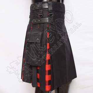 Hybrid Decent Black and MacGregor Rob Roy Tartan Box Pleat Utility Kilt Attached pockets