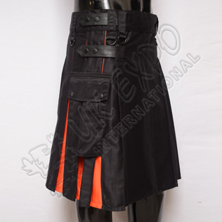 Hybrid Decent Black and Orange Pleat Utility Kilt Attached Box pockets
