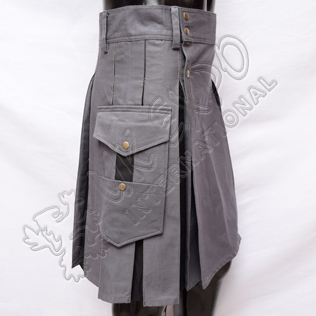 Hybrid Decent Box Pleat Utility Kilt Attached pockets Gray With Black Cotton