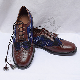 Hybrid Heritage Of Scotland Tartan Ghillie Brogues Shoes with Chocolate Color Leather