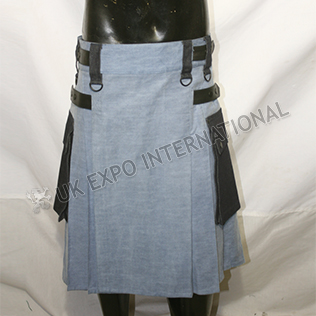 Indigo Blue Denim Utility kilt Size adjustable