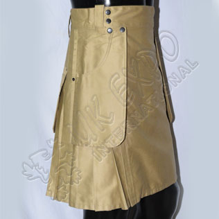 Khaki Color Heavy Duty Casual Utility Kilt