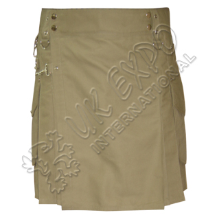 Khaki Tan Color Utility Kilt