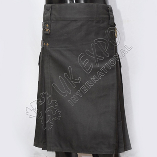 Laser Black Utility Kilt with 4 closing Straps
