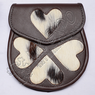 Loving Heart Brown Leather Sporran White color stitching on corners