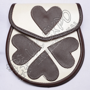 Loving Heart White and Brown Leather Sporran White color stitching on corners