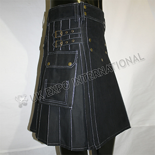 Magic Black with white out thread Utility Kilts Brass Spans