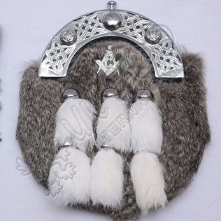Masonic Badge with Gray Rabbit Fur Full Dress Sporran with 6 White Fur Tessels