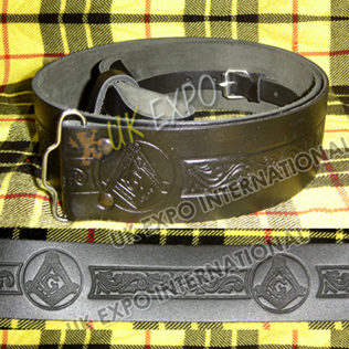 Masonic Embossed Black Leather Kilt Belt Buckle Adjustment