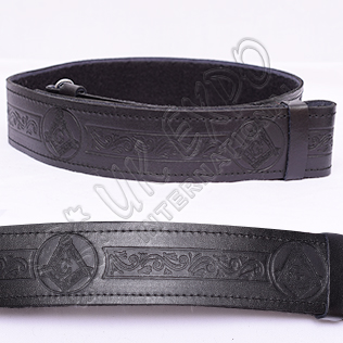Masonic Embossed Black Leather Kilt Belt Velcro Closing