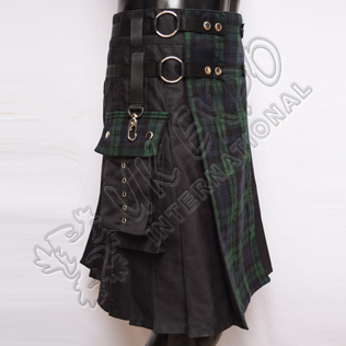 Men New Style Hybrid Black Watch Tartan Utility Kilt