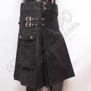 Mens Black Utility Kilts 2 Straps and Buckles Cotton