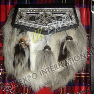 Multi Color Artificial Long Hair Fur with Celtic Cantle on Flap