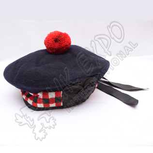 Navy Blue Balmoral Hat with Green white Black dicing and red pom pom