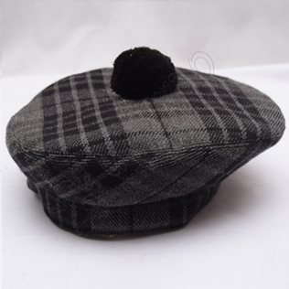 Night Watch Tartan Military Bonnet Hat with Black Pom Pom