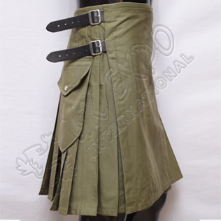 Olive Modern Scottish Kilts with 3 Long Straps 3 Size adjustable