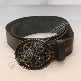 Oval knot kilt buckle Black color filled and real leather Belt