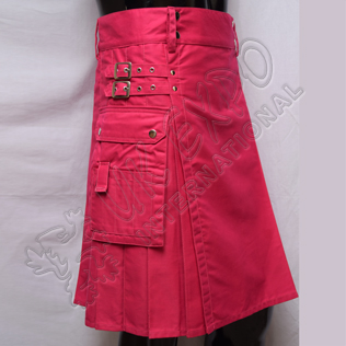 Modern Pink Utility Kilt With long strap 3 sizes adjustable brass snaps