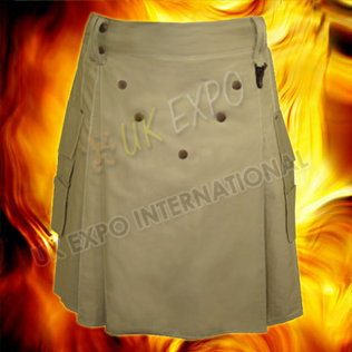 Power Utility Kilt Khaki Fabric Brown Metal Parts