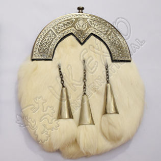 Rabbit Fur Sporran With Diamond Shape Celtic Cantle Brass Antique Finish