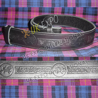 Rampart lion and flower knot work Embossed on Black Color orignal Leather Kilt Belt