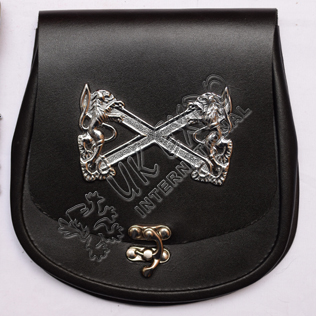 Real Cow hide Leather with Special Celtic Lock and Rampart line Chrom Badge on Front