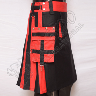 Red and Black Hybrid Two-Tone Utility Kilts
