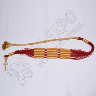 Red and Golden color cotton Russian braid barrel sash