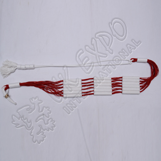 Red and White color cotton Russian braid barrel sash