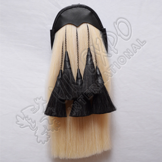 Regimental White Horse Hair Sporran with 5 Black Hair Tassels