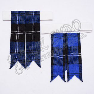 Royal Ramsay blue tartan Kilt Hose Flashes