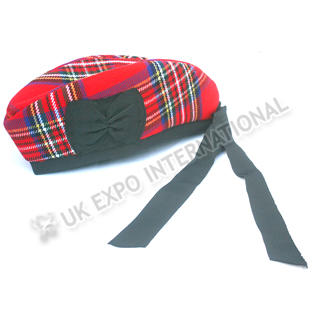 Royal Stewart Tartan Glengarry Hat and Red pom