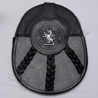 Scottish Black Leather Celtic Design Sporran With Rampart Lion Badge