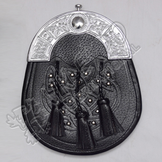 Scottish Black Leather Celtic Design Sporran With Studs and Celtic Design Cantle