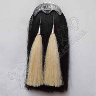 Scottish Black Long Horse Hair Sporran With Highlander Egypt Cantle